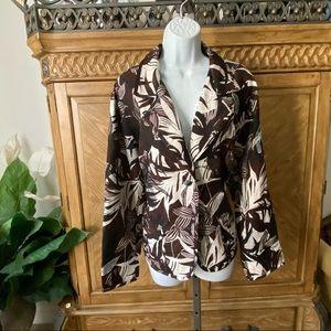Chico's Silk Brown Black Floral Embroidered Blazer